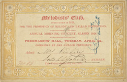 Ticket for a musical concert at the Freemasons Hall 4676